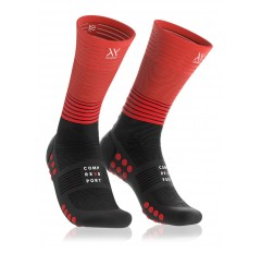 MID COMPRESSION SOCKS BLACK RED