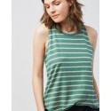 STRIPED HIGH NECK TANK FERN GREEN