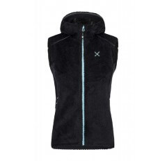 SOFT PILE HOODY VEST WOMAN NERO